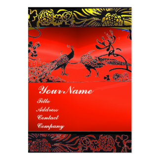 WEDDING LOVE BIRDS black white,red ruby Large Business Card