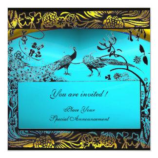 WEDDING LOVE BIRDS ,black ,white ,yellow aqua blue 5.25x5.25 Square Paper Invitation Card