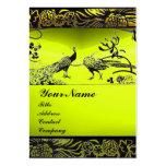 WEDDING LOVE BIRDS ,black white,yellow topaz Business Card Template