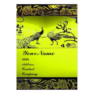 WEDDING LOVE BIRDS ,black white,yellow topaz Large Business Card