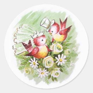 Wedding Love Birds Classic Round Sticker