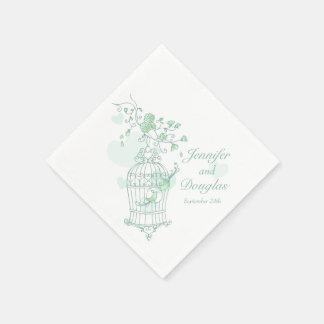 Wedding love birds green paper napkins