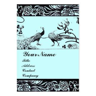 WEDDING LOVE BIRDS MONOGRAM ,black and white blue Large Business Card