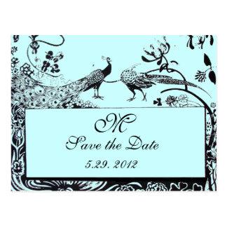 WEDDING LOVE BIRDS MONOGRAM black and white blue Postcard