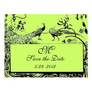 WEDDING LOVE BIRDS MONOGRAM black and white green Postcard
