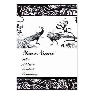 WEDDING LOVE BIRDS MONOGRAM ,black and white Large Business Card