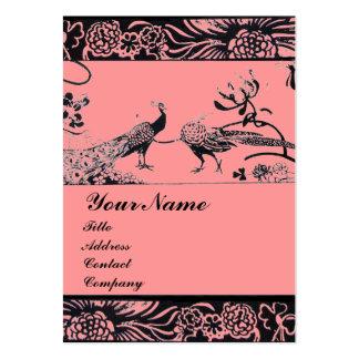 WEDDING LOVE BIRDS MONOGRAM ,black and white pink Large Business Card