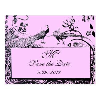 WEDDING LOVE BIRDS MONOGRAM black and white pink Postcard