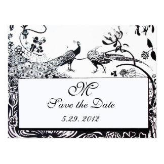 WEDDING LOVE BIRDS MONOGRAM black and white Postcard