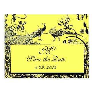 WEDDING LOVE BIRDS MONOGRAM black and white yellow Postcard