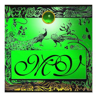 WEDDING LOVE BIRDS MONOGRAM black yellow emerald Card