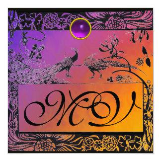 WEDDING LOVE BIRDS MONOGRAM black yellow purple Card