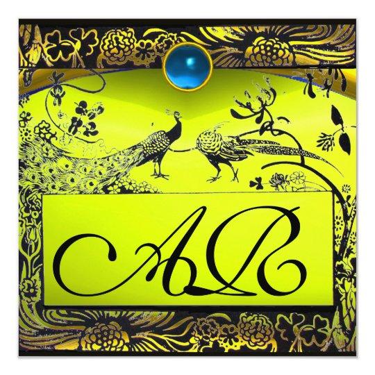 WEDDING LOVE BIRDS MONOGRAM black yellow topaz Card