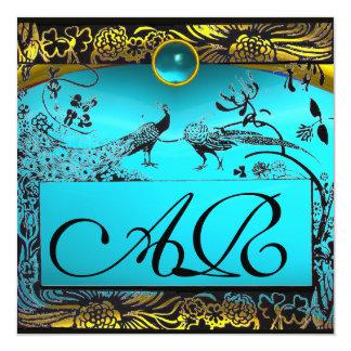 WEDDING LOVE BIRDS MONOGRAM black yellow turquoise 5.25x5.25 Square Paper Invitation Card