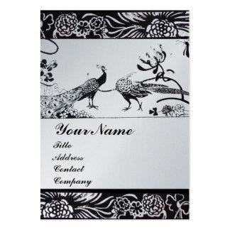 WEDDING LOVE BIRDS MONOGRAM  platinum metallic Large Business Card