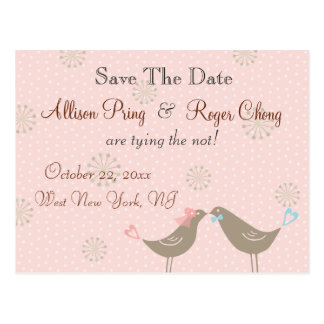 Wedding Love Birds Pink Save The Date Postcard