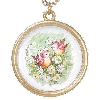 Wedding Love Birds Round Pendant Necklace