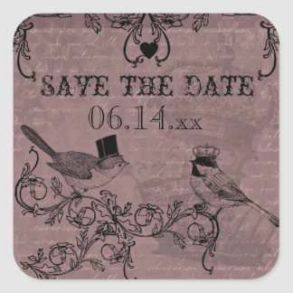Wedding Love Birds Save the Date Stickers