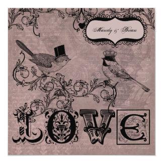 """Wedding Love Birds  Square Wedding Invitation 5.25"""" Square Invitation Card"""