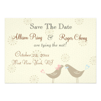 Wedding Love Birds W Save The Date Announcement