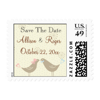 Wedding Love Birds W Save The Date Postage