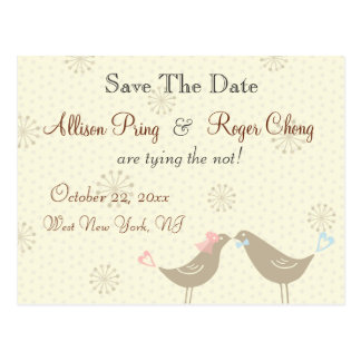 Wedding Love Birds White Save The Date Postcard