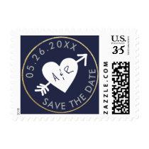 wedding love circle_stamp monogram blue postage