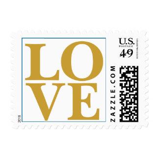 Wedding Love Designer Satin Sheen Gold Postage Stamp