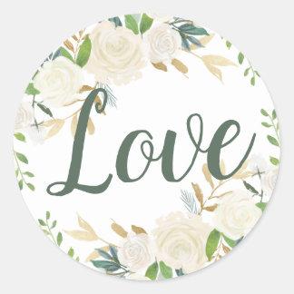 Wedding Love   Neutral Blooms Classic Round Sticker
