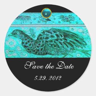 WEDDING LOVE PEACOCK   black blue aquamarine Classic Round Sticker