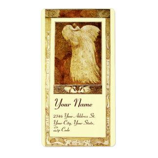 WEDDING LOVE PEACOCK , brown yellow cream Label
