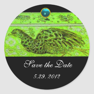 WEDDING LOVE PEACOCK green  black blue aquamarine Classic Round Sticker