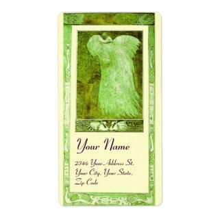 WEDDING LOVE PEACOCK , green cream Label