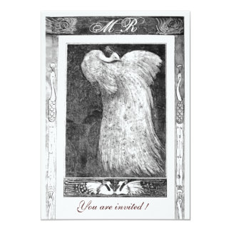 WEDDING LOVE PEACOCK MONOGRAM ,black and white 5x7 Paper Invitation Card