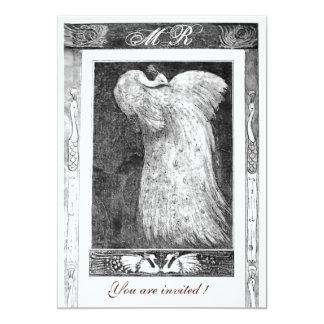 WEDDING LOVE PEACOCK MONOGRAM ,black and white Card