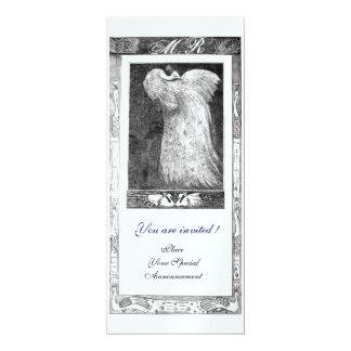 WEDDING LOVE PEACOCK MONOGRAM ,black white Card