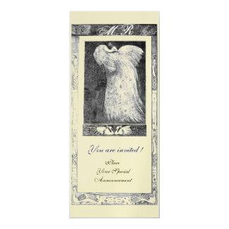 WEDDING LOVE PEACOCK MONOGRAM ,black white gold Card