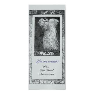 WEDDING LOVE PEACOCK MONOGRAM ,Black White Silver Card