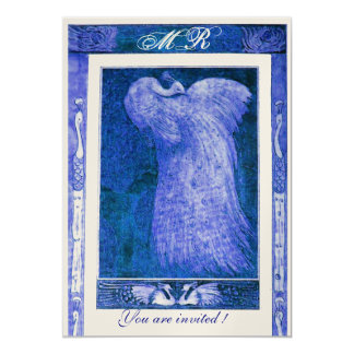 WEDDING LOVE PEACOCK MONOGRAM ,blue gold 5x7 Paper Invitation Card