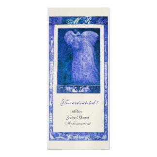 WEDDING LOVE PEACOCK MONOGRAM ,blue gold metallic Card