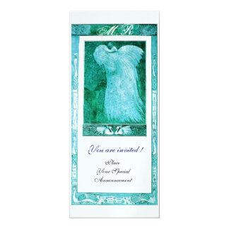 WEDDING LOVE PEACOCK MONOGRAM ,blue ice metallic Card