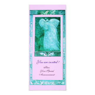 WEDDING LOVE PEACOCK MONOGRAM ,blue pink 4x9.25 Paper Invitation Card