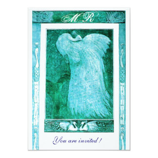 WEDDING LOVE PEACOCK MONOGRAM ,blue white Card