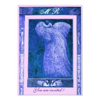 WEDDING LOVE PEACOCK MONOGRAM ,blue white pink Card