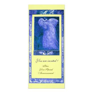 WEDDING LOVE PEACOCK MONOGRAM ,blue yellow Card