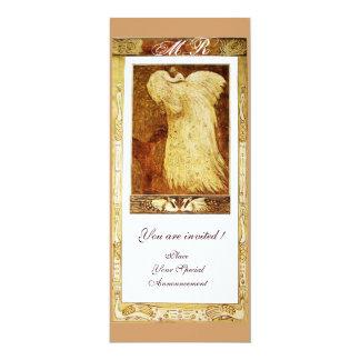 WEDDING LOVE PEACOCK MONOGRAM ,brown white Card