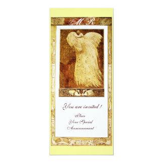 WEDDING LOVE PEACOCK MONOGRAM ,brown white yellow Card