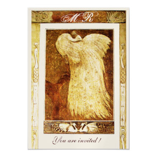 WEDDING LOVE PEACOCK MONOGRAM ,brown  yellow gold Card