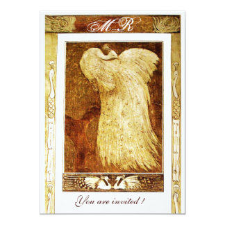 WEDDING LOVE PEACOCK MONOGRAM ,brown  yellow white Card
