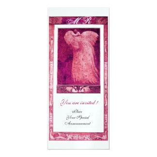 WEDDING LOVE PEACOCK MONOGRAM ,ice metallic paper 4x9.25 Paper Invitation Card